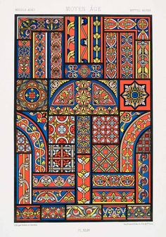 1875 Chromolithograph Medieval Stained Glass Design Border Pattern Floral Art