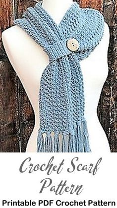 Looking for some cozy scarf crochet patterns? One Skein Crochet, Crochet Scarves, Crochet Shawl, Easy Crochet, Crochet Clothes, Crochet Hooks, Free Crochet, Doilies Crochet, Crochet Fashion