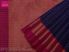M.S Blue pure kanchipuram silk saree with double border pink and green. Anya Boutique provide best collection of Kanchipuram silk sarees for bridal in Coimbatore.  #Elegant #anya_cbe #Kanchipuram_Silk_Saree
