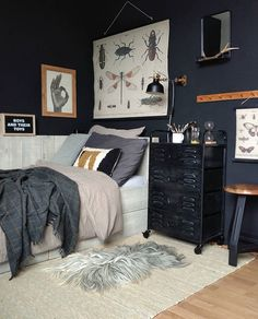 This room 🖤 with this light gray sheeprug. Soon more rugs online! Teen Boy Rooms, Big Boy Bedrooms, Teenage Room, Boys Bedroom Decor, Girl Bedroom Designs, Bedroom Ideas, Grey Room, Rugs Online, Home Decor