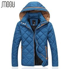Fubotevic Men Solid Color Warm Zip Up Hooded Plus Size Winter Quilted Jacket Coat Outerwear