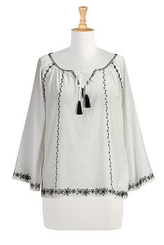 I <3 this Contrast embroidered voile blouse from eShakti