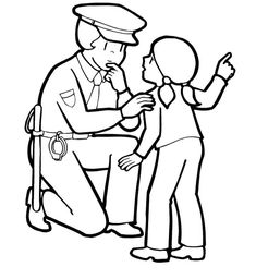 officer police woman and children coloring pages