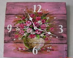 Wall Clock hand painted Shabby Cottage by ShePaintedEverything Cottage Art, Shabby Chic Cottage, Shabby Chic Homes, Shabby Chic Decor, Wood Pallet Art, Reclaimed Wood Art, Pallet Boards, Shabby Chic Wall Clock, Wall Clock Hands