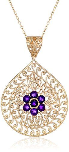 """18k Yellow Gold Plated Sterling Silver African Amethyst Flower Pendant Necklace, 18"""" Amazon Curated Collection http://www.amazon.com/dp/B00MCK2WA2/ref=cm_sw_r_pi_dp_Yb2Qub1CHQFG9"""