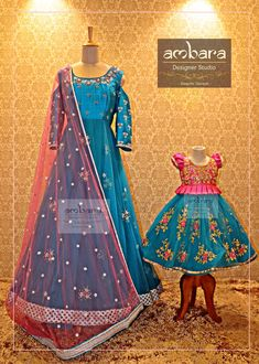 Beautiful mom and daughter duo fro Ambara Studio. Beautiful floor length dress with hand embroidery work.    19 January 2018