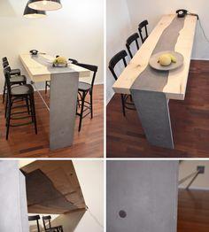 concrete-wood dining table by MOHA design Concrete Wood, Concrete Design, Dining Table, Desk, Furniture, Home Decor, Desktop, Decoration Home, Room Decor