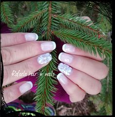 French manicure, handpainted