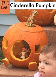 Easiest ever way to carve a jack o'lantern like Cinderella's pumpkin coach!