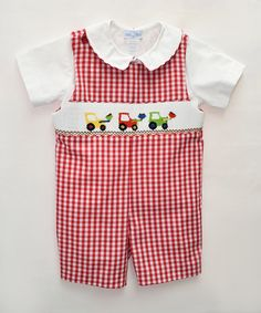 Loving this Red Excavator John Johns & White Top - Infant & Toddler on #zulily! #zulilyfinds