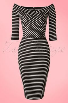 This 50s Milla Cross Stripes Dressis super classy and sexy! Beautifully fitted bodice featuring a stunning V-neckline and sleeves which are worn off shoulder, oh la la! Made from a light stretchy black fabric with playful white stripes which hugs your curves in all the right ways.We're in love with this beauty... musthave!   Faux wrap over detail at the bust 3/4 sleeves Silver toned zipper at the back Hits just below the knee with a height of 1.70m / 5'7''