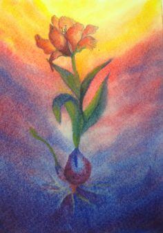 Een schildering van de metamorfosereek van de tulp. In nat in nat schildertechniek.