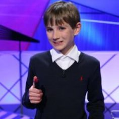 Cutest kid on the face of the earth- Thomas Horn. I don't know what he's like in real life, but I have a feeling my son is going to win Jeopardy and star as an autistic child in a film. (such as Extremely Loud and Incredibly Close) Just a hunch. That'd be nice.
