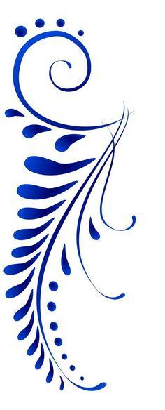 Blue leaf Pattern painting idea like a fern with swirls. Stencil Patterns, Stencil Designs, Embroidery Patterns, Hand Embroidery, Stencils, Stencil Art, Ideias Diy, Pottery Painting, Rock Art