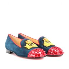 Christian Louboutin INTERN FLAT SUEDE SLIPPER-STYLE LOAFERS