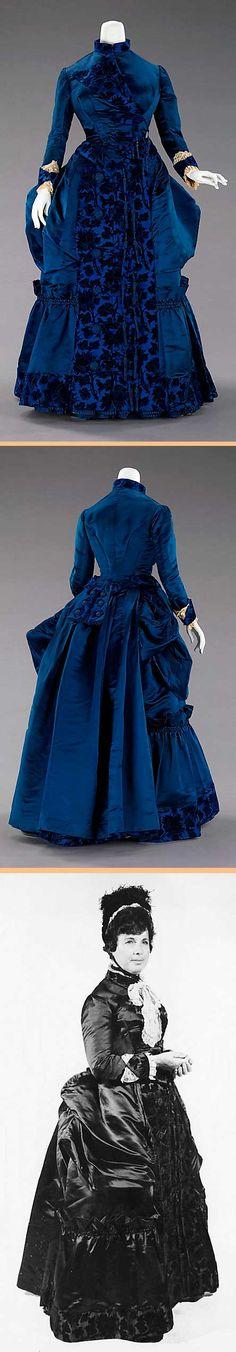 Afternoon dress, Augustine Martin & Co., France, ca. 1885. Silk. Metropolitan Museum of Art
