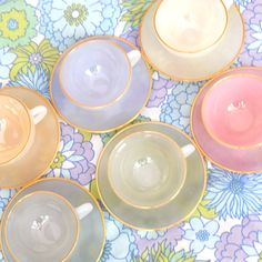 Vintage set of six light pastel 1960s opalescent glass Tea/Coffee cups & saucers by Arcopal.  Marked Arcopal France on the bottom.  1 x Orange 1 x
