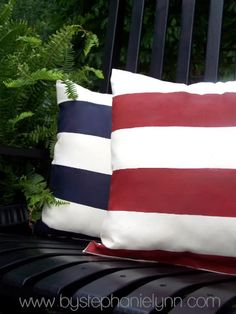Pillows for holiday decorations - put them anywhere to celebrate the red white and blue