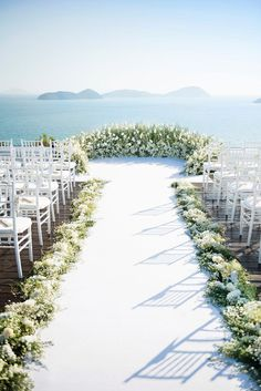 Sam and Sophie's Sunset Wedding in Phuket With a Dreamy Circular White Floral… #weddingdecorations