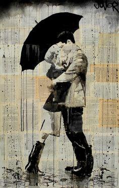 """black umbrella"" by Loui Jover; Ink 2013 Drawing"