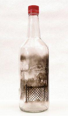 Cut and Run, 2010  Smoke inside empty glass bottle by Jim Dingilian.