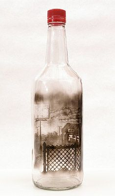 Cut and Run, 2010  Smoke inside empty glass bottle by Jim Dingilian.