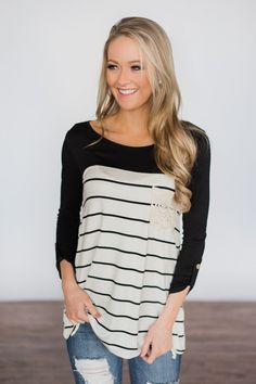 e1b018bfa3f1 Black   White Striped Crochet Pocket Top – The Pulse Boutique