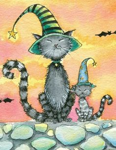 Molly Harrison Witch and Cat   Art: Tabby cats in hats close up by Artist Molly Harrison