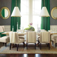 Dining room decor - love the emerald green curtains Mansfield green dining room decor - Dining Room Decor Emerald Green Rooms, Emerald Green Curtains, Green Dining Room, Dining Room Design, Dining Room Furniture, Dining Rooms, Green Furniture, Dining Table, Dining Decor