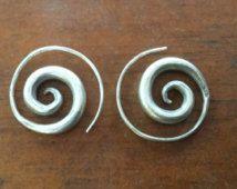 Karen Tribal Thai Silver Spiral Earrings Sterling Silver Marked 925