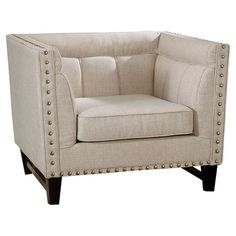 Bring a touch of glamour to your living room or den with this linen-upholstered accent chair, showcasing a contemporary-inspired silhouette and nailhead trim...