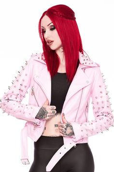 Dahlia Studded Biker Jacket [PINK]