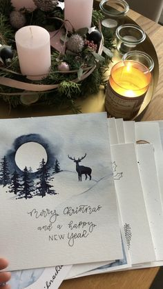 Weihnachtskarten - Gifts and Costume Ideas for 2020 , Christmas Celebration Painted Christmas Cards, Watercolor Christmas Cards, Christmas Card Crafts, Christmas Drawing, Christmas Paintings, Watercolor Cards, Xmas Cards, Christmas Art, Diy Cards