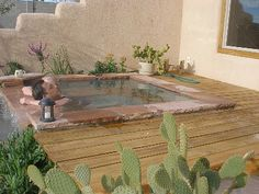 hot mineral tub on private deck