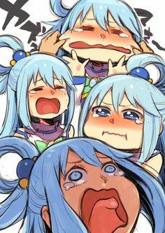 The many faces of Aqua from Konosuba Konosuba Anime, Anime Comics, Otaku Anime, Kawaii Anime Girl, Anime Art Girl, Manga Art, Cute Anime Character, Character Art, Konosuba Wallpaper