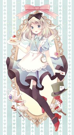 ✮ ANIME ART ✮ Alice in Wonderland. . .Alice. . .apron. . .lace. . .stockings. . .hair bow. . .cake. . .teapot. . .roses. . .fairy tale. . .pastel. . .cute. . .kawaii