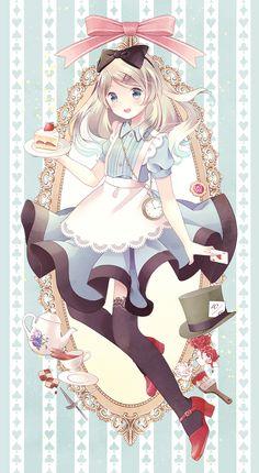 ✮ ANIME ART ✮ Alice in Wonderland. . .Alice. . .apron. . .lace. . .stockings. . .hair bow. . .cake. . .teapot. . .roses. . .fairy tale. . .pastel. . .cute. . .kawaii