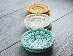Crochet Face Scrubby Set of Six in colors of Aqua by TheGreenDaisy