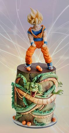 Dragon Ball Z - Son Goku and Shenron entirely made with modeling chocolate