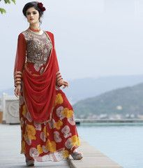 Red Color Georgette Unstitched Designer Gown For Wedding : Pritisha Collection YF-32149
