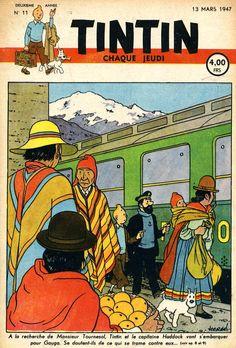 Revista Tintin 1947 - El Templo del Sol - Tren de Santa Clara a Jauja, en los Andes de Perú