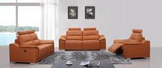 Orange Italian Leather Sofa Set w/ Recliners