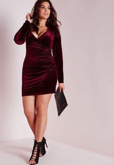 Missguided - Plus Size Velvet Wrap Front Dress Burgundy