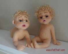"Twins - - Needle Felted ""I Felt That - Needle Feltings by Trish Veilleux"" on Facebook -- www.iFeltThat1.com"