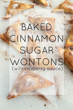 such an easy recipe! baked cinnamon sugar cream cheese wontons with a tangy raspberry dipping sauce! such an easy recipe! baked cinnamon sugar cream cheese wontons with a tangy raspberry dipping sauce! Wanton Wrapper Recipes, Wonton Recipes, Egg Roll Recipes, Snack Recipes, Dessert Recipes, Cooking Recipes, Appetizer Recipes, Recipes With Wonton Wrappers, Dessert Cups