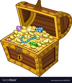 Opened wooden treasure chest full of gold coins, gems and jewelry , Treasure Chest Clipart, Cartoon Treasure Chest, Pirate Treasure Chest, Treasure Boxes, Treasure Chest Craft, Pirate Quilt, Dibujos Cute, Cartoon Pics, Cartoon Picture