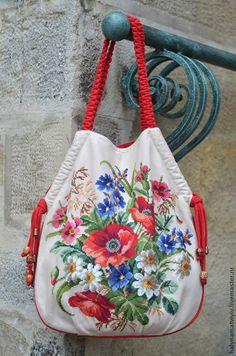 """Купить Сумка """"Синий лен"""" в красном - цветочный, вышивка, сумка женская, лен"""