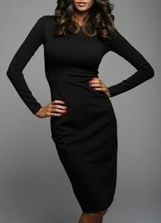 69f18492bb5 Sexy Round Collar Long Sleeve Pure Color Women's Dress. Blacked Online ...
