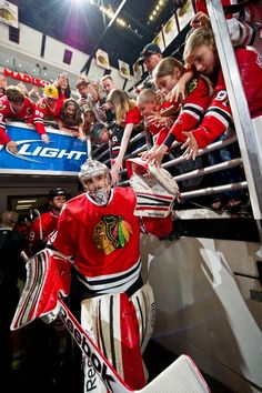 CHICAGO, IL - JUNE 8: Goalie Corey Crawford #50 of the Chicago Blackhawks walks out to the ice before Game Five of the Western Conference Final against the Los Angeles Kings during the 2013 Stanley Cup Playoffs at the United Center on June 08, 2013 in Chicago, Illinois. (Photo by Bill Smith/NHLI via Getty Images)