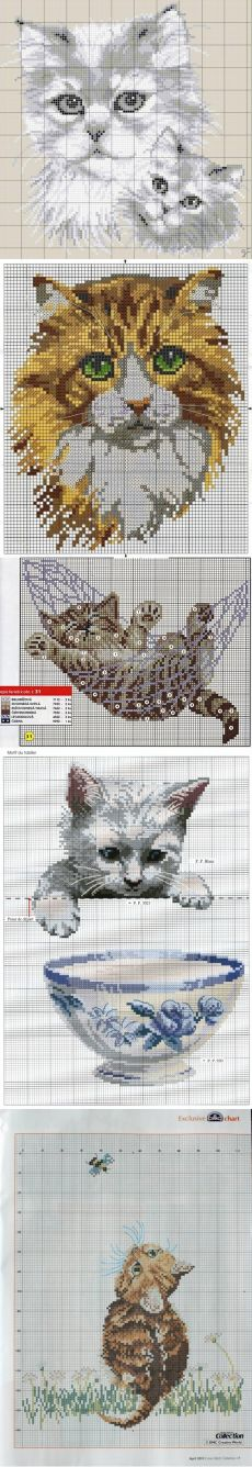 Vintage Embroidery, Hand Embroidery, Embroidery Designs, Cross Stitch Bookmarks, Counted Cross Stitch Patterns, Cross Stitch Pictures, Cross Stitch Animals, Tapestry Crochet, Cat Pattern